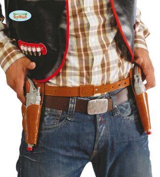 cartuchera doble con dos pistolas