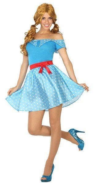 Chica Pin Up de los Años 50 Azul Adulta